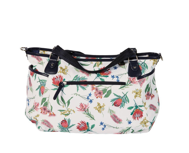 Botanical Tote White Ground Nappy Bag - NappyBags.com