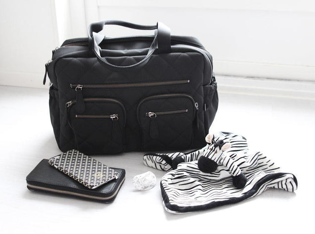 Carry All Black Quilted Nappy Bag - NappyBags.com