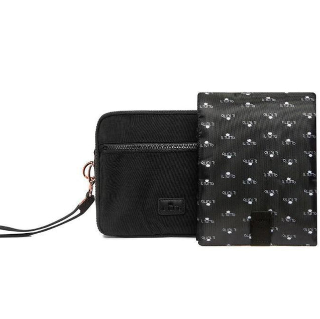 IL Tutto Milo All-In-One Nappy Changer Pouch In Black & Rose Gold - NappyBags.com