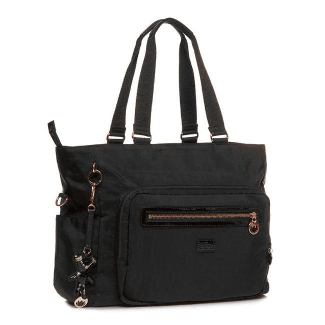 Layla Tote In Black & Rose Gold - NappyBags.com