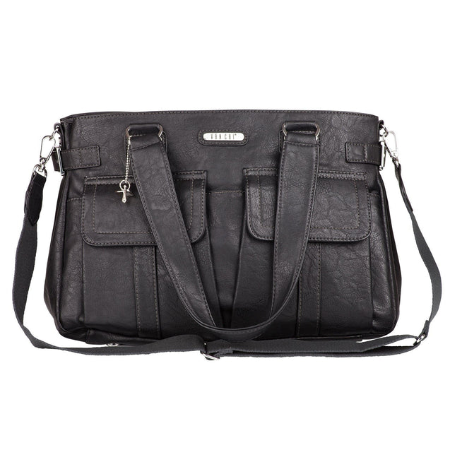 Vanchi Sydney Satchel Vegan Leather - Black Nappy Bag