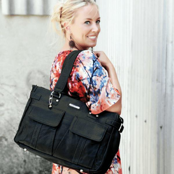 Sydney Satchel Vegan Leather - Black - NappyBags.com