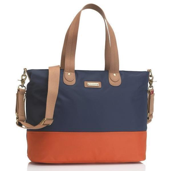 Storksak Tote Navy/Orange - NappyBags.com