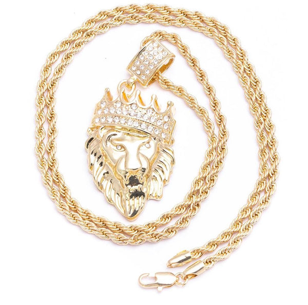 Big boy iced lion king pendant wavey jewelry lion pendant necklace chain aloadofball Image collections