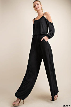Black Cold Shoulder Long Sleeve Wide Pants Jumpsuit