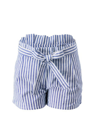 Blue & White Linen Striped Shorts with Belt