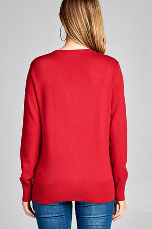 RED LONG SLEEVE V-NECK CLASSIC SWEATER CARDIGAN
