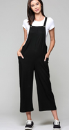 Black Linen Blend Crop Overall with Side Pockets