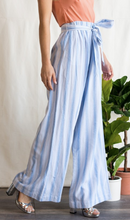 Blue Striped High Rise Palazzo With Elastic Waist Band & Tie