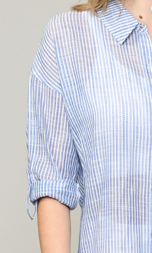 Chambray Pin Stripe Button Down Shirt