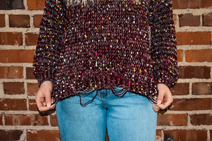 Distressed Burgundy Confetti Sweater
