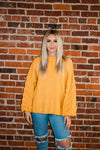 Mustard Sweater with PomPom Detailed Sleeves