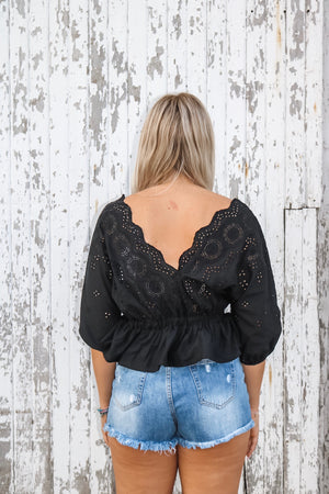 Black Romantic Lace Peplum Top