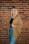 Khaki Batwing Knitted Shrug Cardigan