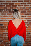 Red Twist Front or Back Sweater