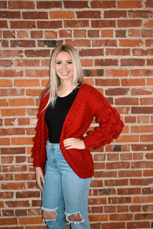 Red Bubbly Sweater Cardigan