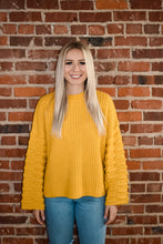 Mustard 3-Dimensional Bubble Sleeve Detail Unique Sweater