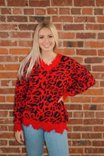 Red Leopard Print Frayed V-Neck Sweater