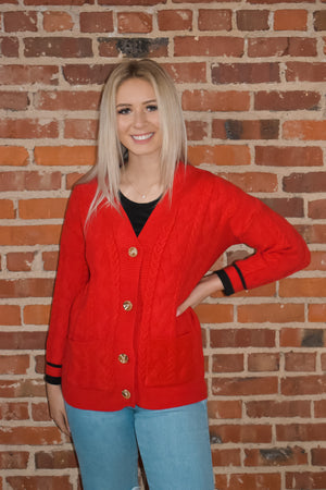 Red Button-Front Cardigan
