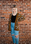 Copper Brown Jacquard Cheetah  Print Sweater Cardigan