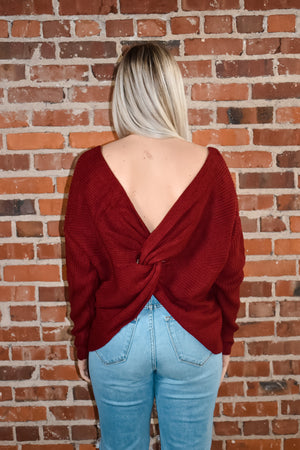 Burgundy Twist Front or Back Sweater