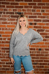 Heather Grey Scalloped Edge V-Neck Sweater