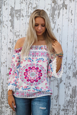 Ivory Ornate Print Off-Shoulder Top