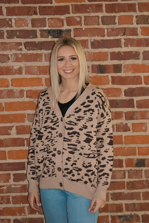 Light Brown Cheetah Print Cardigan
