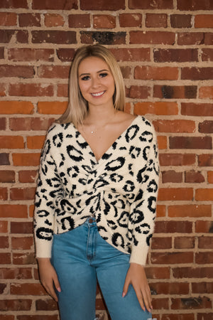Cream Animal Leopard Twist Back Sweater