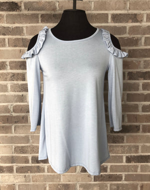Light Blue Open Ruffle Shoulder 3/4 Sleeve Top