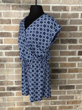 Navy & White Patterned Print Romper