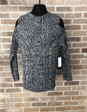 BLACK & GREY CABLE KNIT COLD SHOULDER  LONG-SLEEVE SWEATER