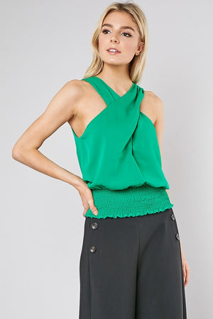 Kelly Green Criss-Cross Neck Tank Top