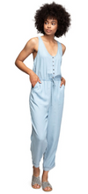 Light Blue Button Tank Jumpsuit with Waist Elastic