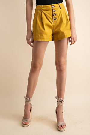 Mustard Pleated Button-Front Shorts