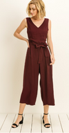 Plum Back Tie Crop Jumpsuit