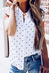 White & Black Polka Dot Button-Up Top