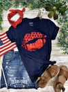 Red Foil Patriotic Lips - Navy T-Shirt