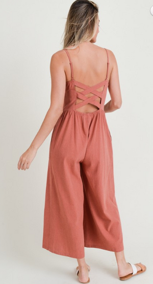 Brick Pinstripe Criss Cross Back Cropped Jumpsuit