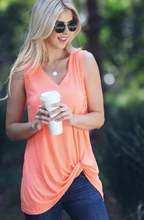 Neon Coral Twist Front Tank Top