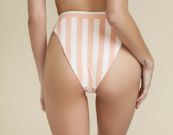 Coral Beach Striped Active Beach-Goers Bikini Top & Hi Leg Cut Bottoms