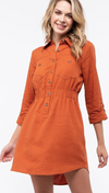 Camel Button-Down Dress