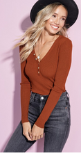 Marsala Button Detail Henley Top