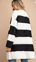 Black & White Striped Loop Knit Oversized Open Cardigan