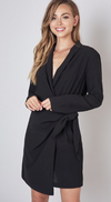 Black Wrap Style Side Tie Dress