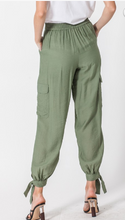 Olive Cargo Jogger with Ankle Tie Detail
