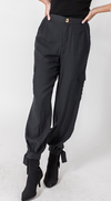 Black Cargo Jogger with Ankle Tie Detail