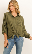 Olive Button Down Tie Front Top