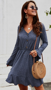 Navy Rufle Sleeve Swing Dress