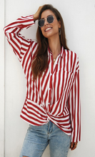 Red & White Striped Long-Sleeve Button-Up